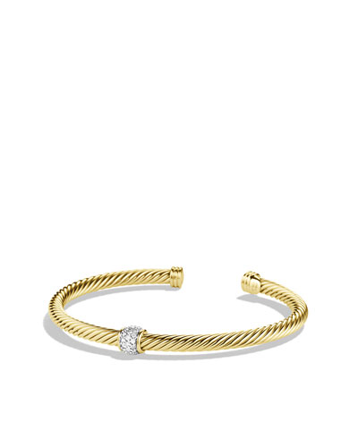 David Yurman Cable Classics Bracelet with Diamonds in Gold