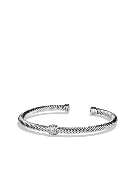 Cable Classics Bracelet, Pave Diamond, 4mm