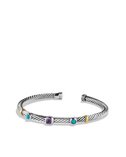 David Yurman Renaissance Bracelet with Amethyst, Turquoise, and Gold