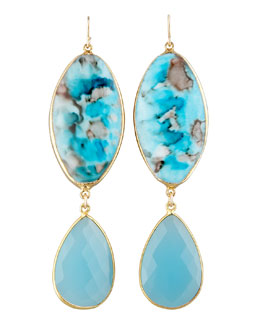 Devon Leigh Turquoise Double-Drop Earrings