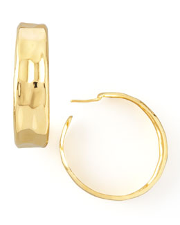 Nest Hammered Gold Hoop Earrings