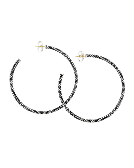 Thin Caviar Hoop Earrings, 2 1/3""
