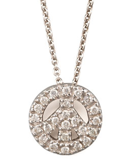 Roberto Coin Pave Peace Sign Necklace