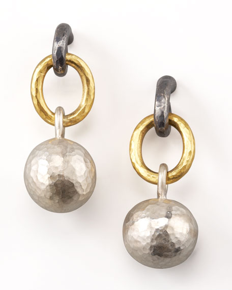 Mixed-Metal Ball-Drop Earrings