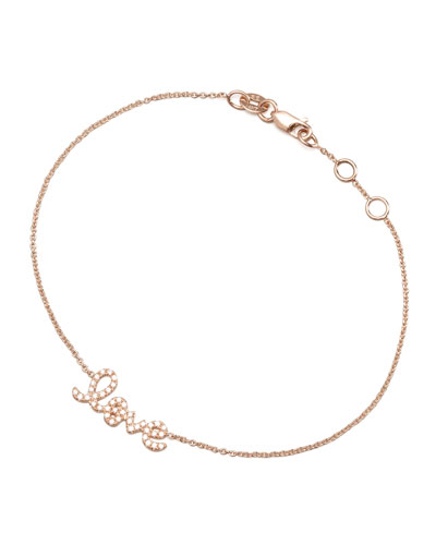 Sydney Evan Rose Gold Diamond Love Bracelet