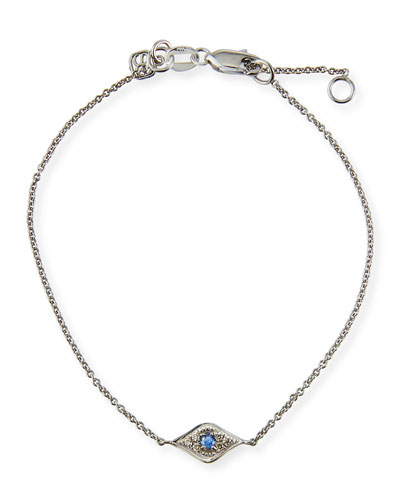 Sydney Evan Mini Diamond Evil Eye Bracelet, White Gold