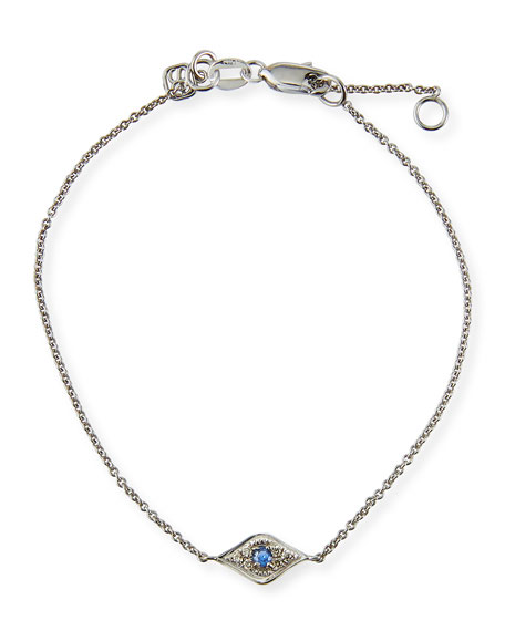 Sydney Evan Mini Diamond Evil Eye Bracelet, White