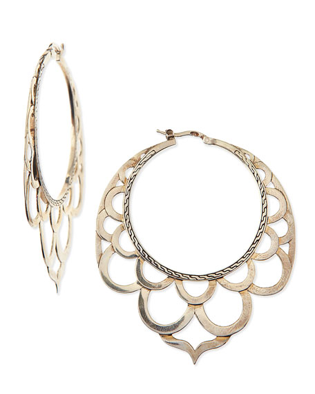 John Hardy Naga Silver Lace Hoop Earrings
