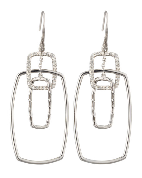 Classic Chain Rectangular Linked Diamond Drop Earrings