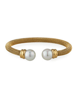 Majorica Pearl-Cap Bangle, Yellow Gold