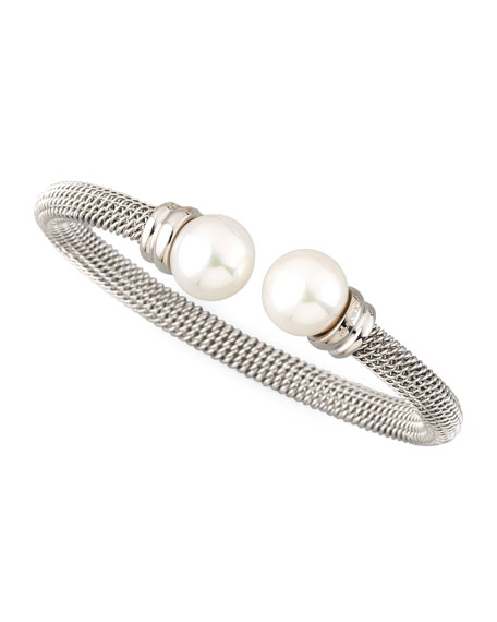 Stainless Steel Man-Made Pearl Bangle Bracelet (10Mm), Silver
