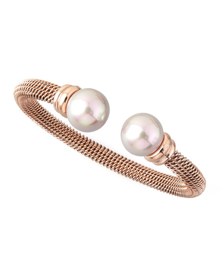 Pearl-Cap Bangle, Rose Gold