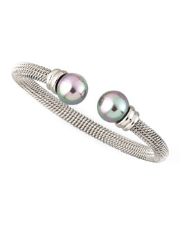 Majorica Gray Pearl-Cap Bangle, Silver