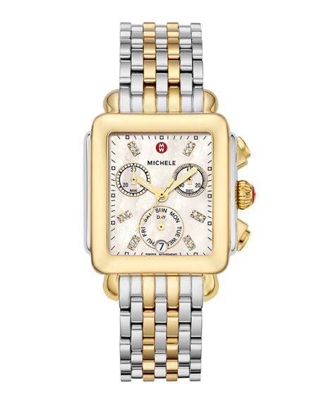 MICHELE 18mm Deco Diamond Dial Watch Head, Two-Tone