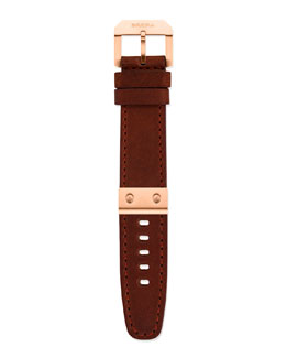 Brera Leather Watch Strap, Rose Golden