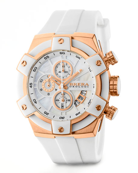 43mm Federica, Rose Gold and White
