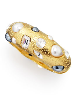 Kenneth Jay Lane Pearl & Crystal Encrusted Cuff