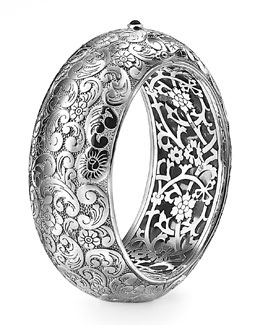 Monica Rich Kosann Floral-Carved Cuff, Wide