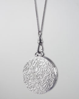 Monica Rich Kosann Round Vine-Carved Locket Necklace