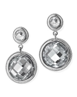 Monica Rich Kosann Rock Crystal 2-Drop Earrings