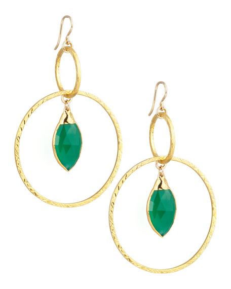 Hammered Gold Green Hoop Ear