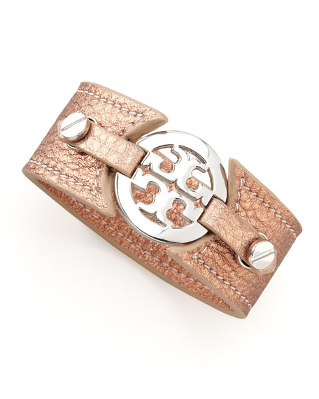 Metallic Logo Double-Snap Cuff, Salmon