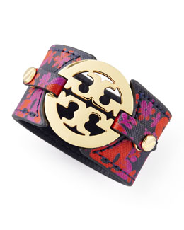 Tory Burch Printed Leather Logo Double-Snap Cuff, Red