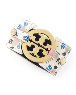 Tory Burch Printed Leather Logo Double-Snap Cuff, Wide