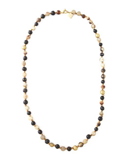 "Ashley Pittman Haba Horn Bead Necklace, 41""L"