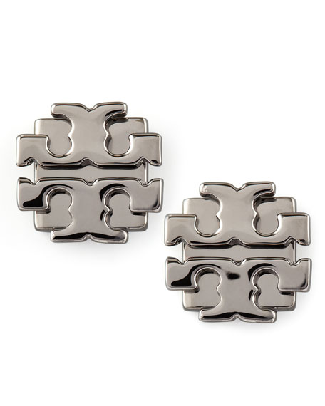 Large T-Logo Stud Earrings, Gunmetal