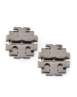 Tory Burch Small T-Logo Stud Earrings, Gunmetal