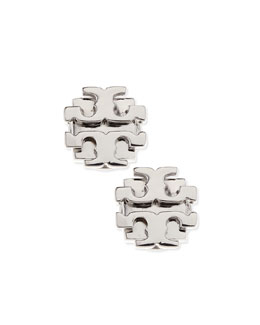 Tory Burch Small T-Logo Stud Earrings, Silvertone