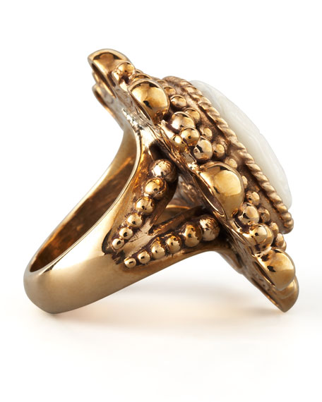 Floral-Carved Mother-of-Pearl Ring