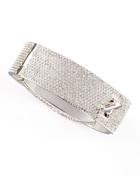Pave Crystal Safety Chain Cuff, Silver