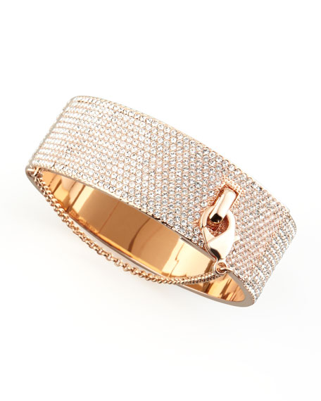 Pave Crystal Safety Chain Cuff, Rose Gold