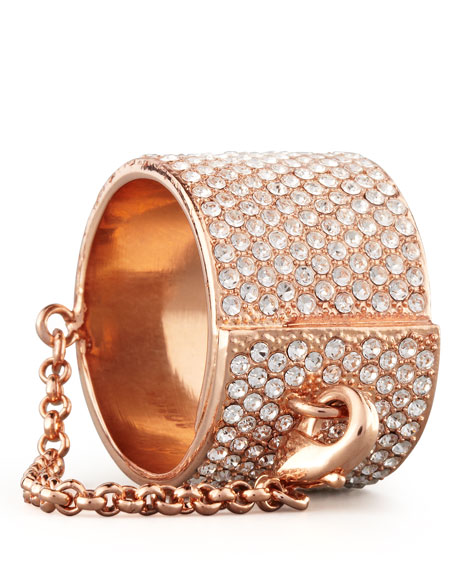 Pave Crystal Ring with Safety Chain