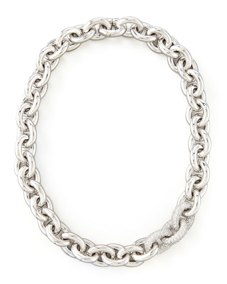 Pave-Link Cable Chain Necklace, Silver