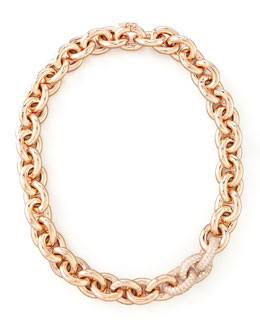 Eddie Borgo Pave-Link Cable Chain Necklace, Rose Gold