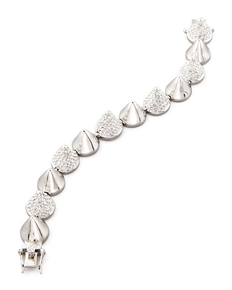Alternating Pave Cone Bracelet, Silver-Plated