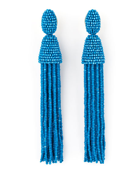 Long Beaded Tassel Earrings, Blue