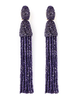 Oscar de la Renta Long Beaded Tassel Earrings, Violet