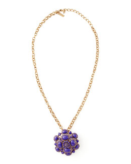 Oscar de la Renta Cabochon Brooch-Pendant Necklace, Purple