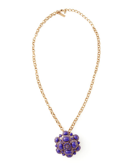 Cabochon Brooch-Pendant Necklace, Purple