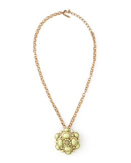 Oscar de la Renta Cabochon Brooch-Pendant Necklace, Green
