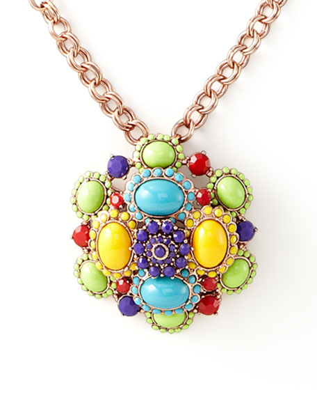 Cabochon Brooch-Pendant Necklace, Multicolor