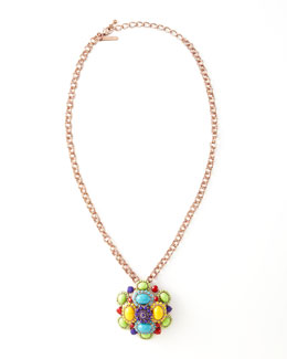 Oscar de la Renta Cabochon Brooch-Pendant Necklace, Multicolor