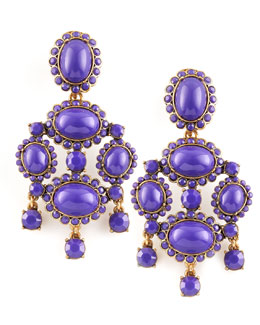 Oscar de la Renta Cabochon Drop Clip Earrings, Purple