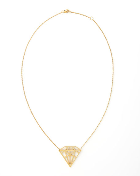 Diamond-Cutout Pendant Necklace