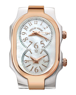 Philip Stein Small Signature Two-Tone Watch Head, Rose Gold/Stainless