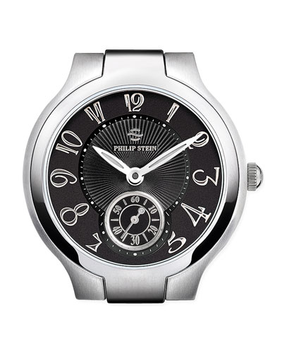 Philip Stein Small Black Round Watch Head, Steel